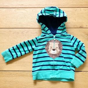 Carter's Turquoise & Blue Striped Lion Jacket